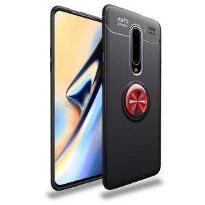 Metal Ring Holder 360 Degree Rotating TPU Case for OnePlus 7 Pro(Black+Red)