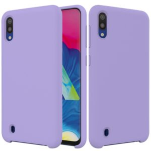 Solid Color Liquid Silicone Shockproof Full Coverage Case for Galaxy M10(Purple)