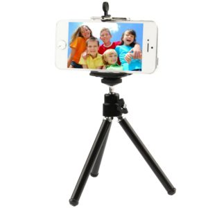 Portable Aluminum Tripod, For iPad, iPhone, Galaxy, Huawei, Xiaomi, LG, HTC and Other Smart Phones(Black)