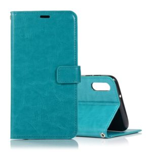 Crazy Horse Texture Horizontal Flip Leather Case with Holder & Card Slots & Wallet & Photo Frame for Galaxy A10(Blue)