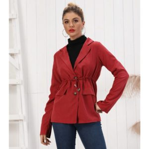 Fashion Lapel Waist Tightening Pocket Blazer (Color:Red Size:S) (6103320000)