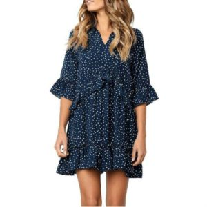 Burst Ruffled Skirt Fashion Dot Dress, Size:L(Navy Blue)
