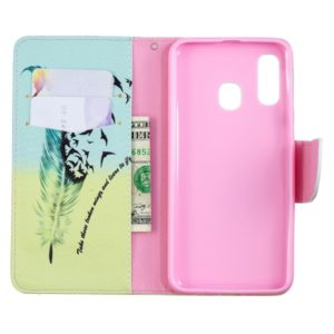 Colored Drawing Pattern Horizontal Flip Leather Case for Samsung Galaxy A40,with Holder & Card Slots & Wallet(Feather Bird)