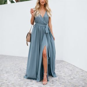 Solid Color V-neck Mid-waist Sleeveless Long Dress (Color:Blue Size:S)