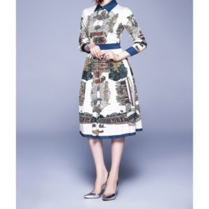 Elegant Retro Print Big Swing Dress (Color:As Show Size:L)
