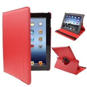 360 Degree Rotatable PU Leather Case with Sleep / Wake-up Function & Holder for New iPad (iPad 3) / iPad 2, Red(Red)