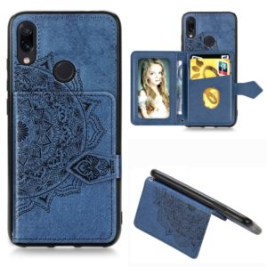 For Xiaomi Redmi Note 7 / Note 7 Pro Mandala Embossed Magnetic Cloth PU + TPU + PC Case with Holder & Card Slots & Wallet & Photo Frame & Strap(Blue)