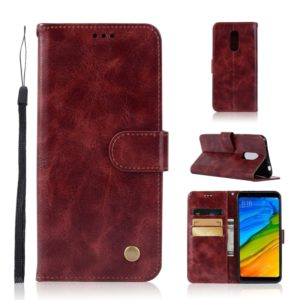 For Xiaomi Redmi 5 Retro Copper Button Crazy Horse Horizontal Flip PU Leather Case with Holder & Card Slots & Wallet & Lanyard(Wine Red)