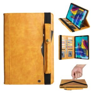 Crazy Horse Texture Horizontal Flip Leather Case for Galaxy Tab S 5E 10.5 / T720 / T725, with Double-row Card Slots & Pen Slot & Holder & Wallet(Yellow)