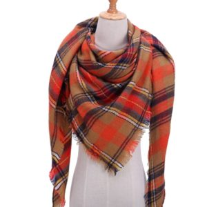 Spring Winter Knitted Scarf Neck Plaid Pashmina Warm Scarves Shawls Lady Wrap(B5)