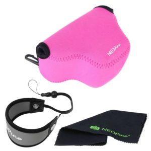NEOpine Neoprene Soft Triangle Camera Bag + Hand Strap + Cleaning Cloth Set for Samsung NX3000 Camera 20-50mm Lens(Pink) (NEOPine)