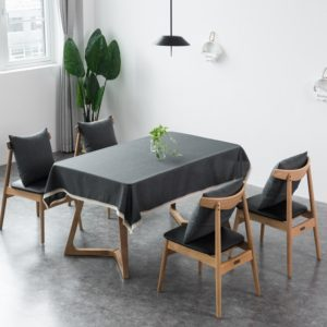 Decorative Tablecloth Imitation Linen Lace Table Cloth Dining Table Cover, Size:130x170cm(Dark Gray)
