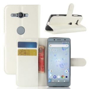For Sony Xperia XZ2 Compact PU + TPU Litchi Texture Horizontal Flip Leather Case with Wallet & Holder & Card Slots(White)