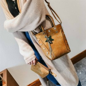 Leisure Fashion PU Leather Slant Shoulder Bag Handbag (Light Brown)