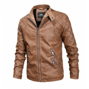 Autumn And Winter Fashion Tide Male Leather Jacket (Color:Khaki Size:XXL)
