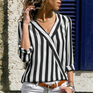 Women Striped Shirt Long Sleeve V-neck Shirts Casual Tops Blouse, Size:XL(Black)