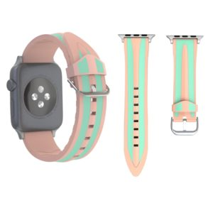For Apple Watch Series 3 & 2 & 1 42mm Fashion Double Stripes Pattern Silicone Watch Strap (Pink+Green)