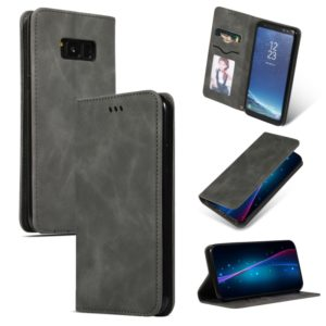 Retro Skin Feel Business Magnetic Horizontal Flip Leather Case for Galaxy S8+(Dark Gray)