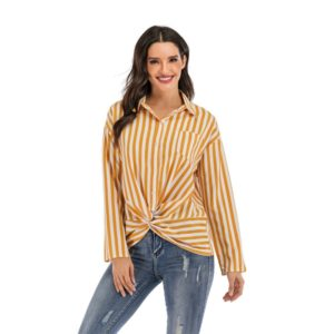 Fashion Personality Long-sleeved Shirts (Color:Yellow Size:L)