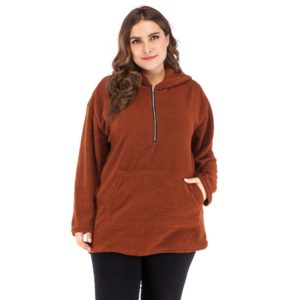 Plus Size Women Solid Color Plush Round Neck Hooded Long Sleeve Sweater(Color:As Show Size:XXXXL)