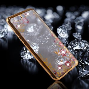 For Huawei P10 Flowers Pattern Diamond Encrusted Electroplating Soft TPU Protective Cover Case (Gold)
