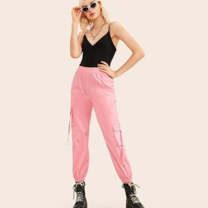 Elastic Waist Flap Pockets Side Webbing Cargo Pants (Color:Pink Size:M)