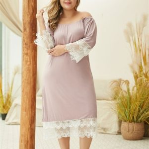 Elastic One-neck Double Lace Nine Points Sleeve Dress Large Size Solid Color A-line Skirt (Color:Pink Size:XXXL)