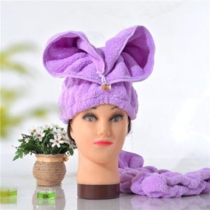 Microfiber Solid Hair Turban Quickly Dry Hair Hat Wrapped Towel(Purple)