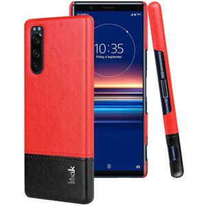 For Sony Xperia 5 IMAK Ruiyi Series Concise Slim PU + PC Protective Case with Explosion-proof Screen Protector(Black+Red) (imak)