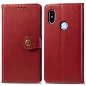 For Xiaomi Redmi Note 5 Pro Retro Solid Color Leather Buckle Mobile Phone Protection Leather Case with Photo Frame & Card Slot & Wallet & Bracket Function(Red)