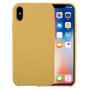 Pure Color Liquid Silicone + PC Dropproof Protective Back Cover Case for iPhone X / XS(Yellow)
