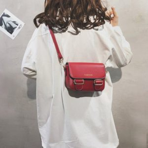 Fashion PU Leather Small Square Handbag Ladies Shoulder Messenger Bag(Red)