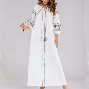 Women Embroidered Dress (Color:White Size:XL)