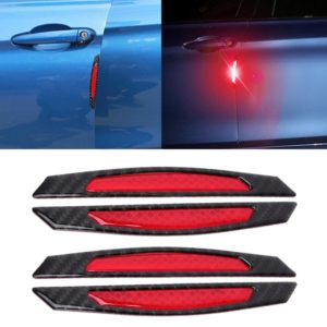 4 PCS Carbon Fiber Car Auto Side Door Edge Guard Protection Trims Reflective Stickers(Red)