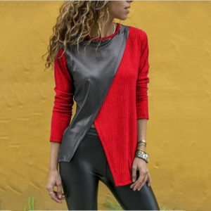 Stitching Round Neck Long-sleeved T-shirt (Color:Red Size:XL)
