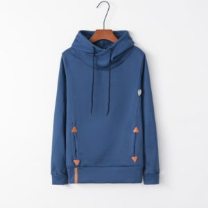 Autumn Fashion Long Sleeve Pocket Embroidered Hooded Shirt (Color:Blue Size:S)