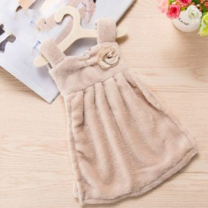 Dress Shaped Pattern Super Absorbent Coral Velvet Household Hand Towel(Coffee)
