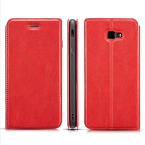 Retro Simple Ultra-thin Magnetic Horizontal Flip Leather Case for Galaxy J4 Plus, with Holder & Card Slots & Lanyard (Red)