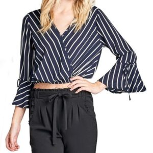 Striped V-neck Waist Flare Sleeve Women Shirt (Color:Blue Size:S)