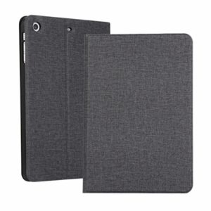 iPad Mini 1 / Mini 2 / Mini 3 Fabric Texture Horizontal Left and Right Open Solid Leather Case with Sleep Belt Bracket(Black)