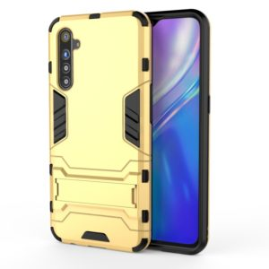 For OPPO Realme XT & K5 Shockproof PC + TPU Protective Case with Holder(Yellow)
