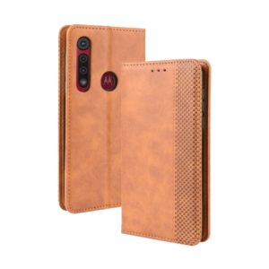 For Motorola Moto G8 Plus Magnetic Buckle Retro Crazy Horse Texture Horizontal Flip Leather Case with Holder & Card Slots & Photo Frame(Brown)