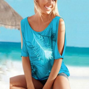 Casual Short Sleeve Tops Tees Sexy Off Shoulder Feather Print O-neck Loose Shirts for Women, Size:XXXL(Sky Blue)