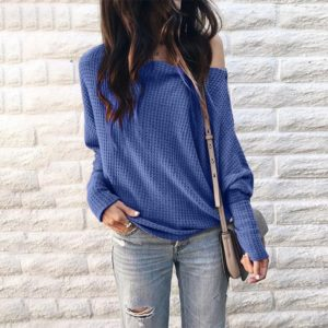Long Sleeve Loose Printed One-shoulder Knit Shirt (Color:Blue Size:M)