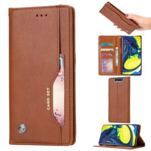 Knead Skin Texture Horizontal Flip Leather Case for Galaxy A80 / A90, with Photo Frame & Holder & Card Slots & Wallet(Brown)