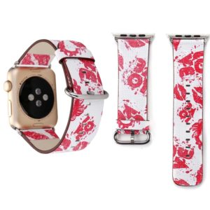 For Apple Watch Series 3 & 2 & 1 38mm Fashion Red Lips Pattern Genuine Leather Wrist Watch Band