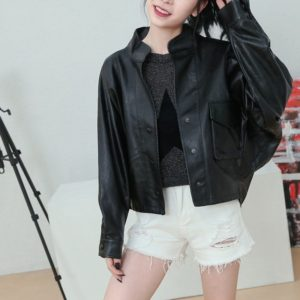 Punk Temperament Casual Stand Collar Leather Jacket