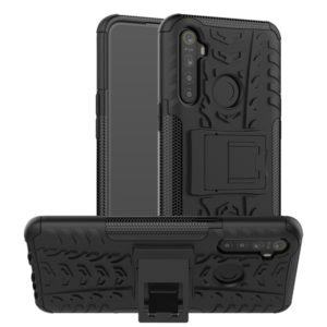 For OPPO Realme 5 Tire Texture Shockproof TPU+PC Protective Case with Holder(Black)