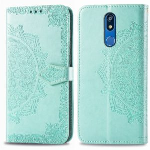 For LG K40 Halfway Mandala Embossing Pattern Horizontal Flip Leather Case with Holder & Card Slots & Wallet & Lanyard(Green)