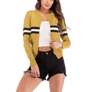 Fashion Cardigan Solid Color Knit Sweater (Color:Yellow Size:L)